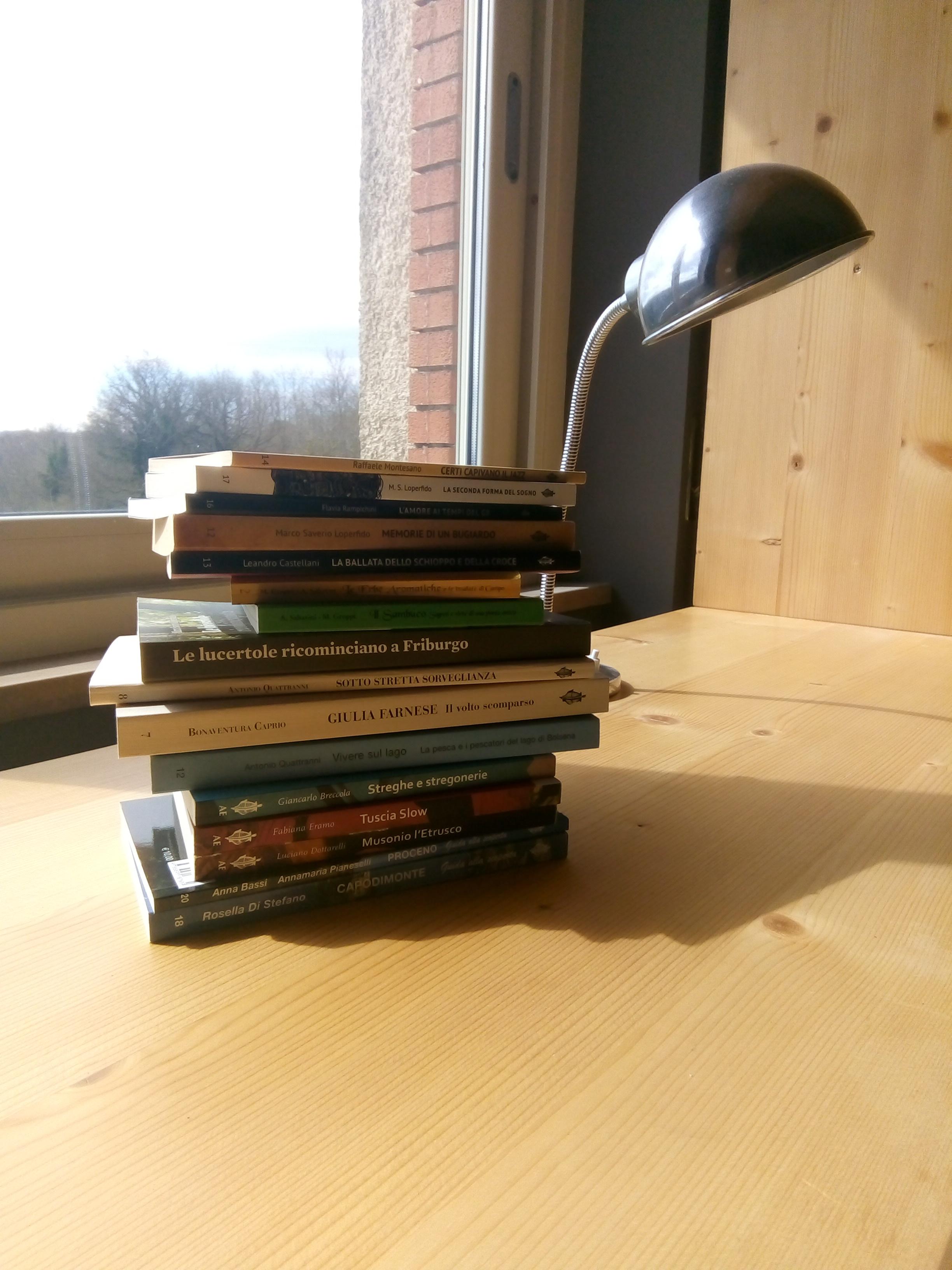 libri e lampada davanti a finestra